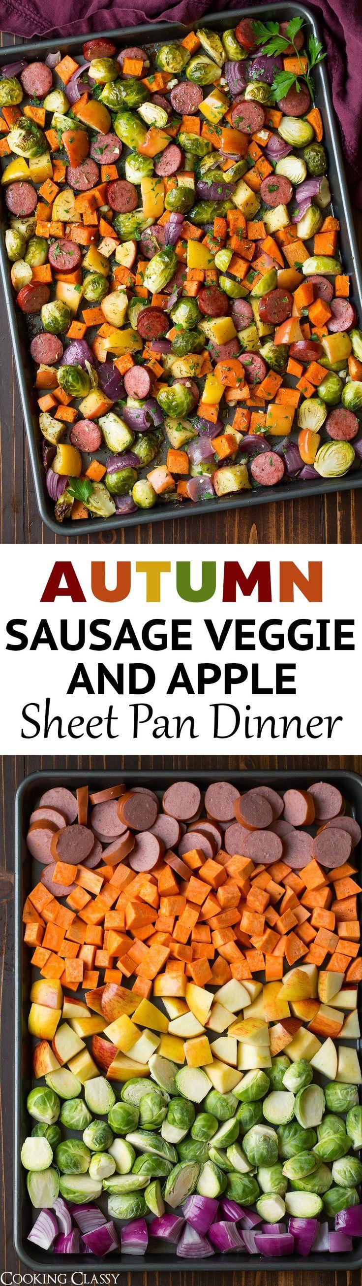 Autumn Sausage Veggie and Apple Sheet Pan Dinner : cookingclassy #onepandinners
