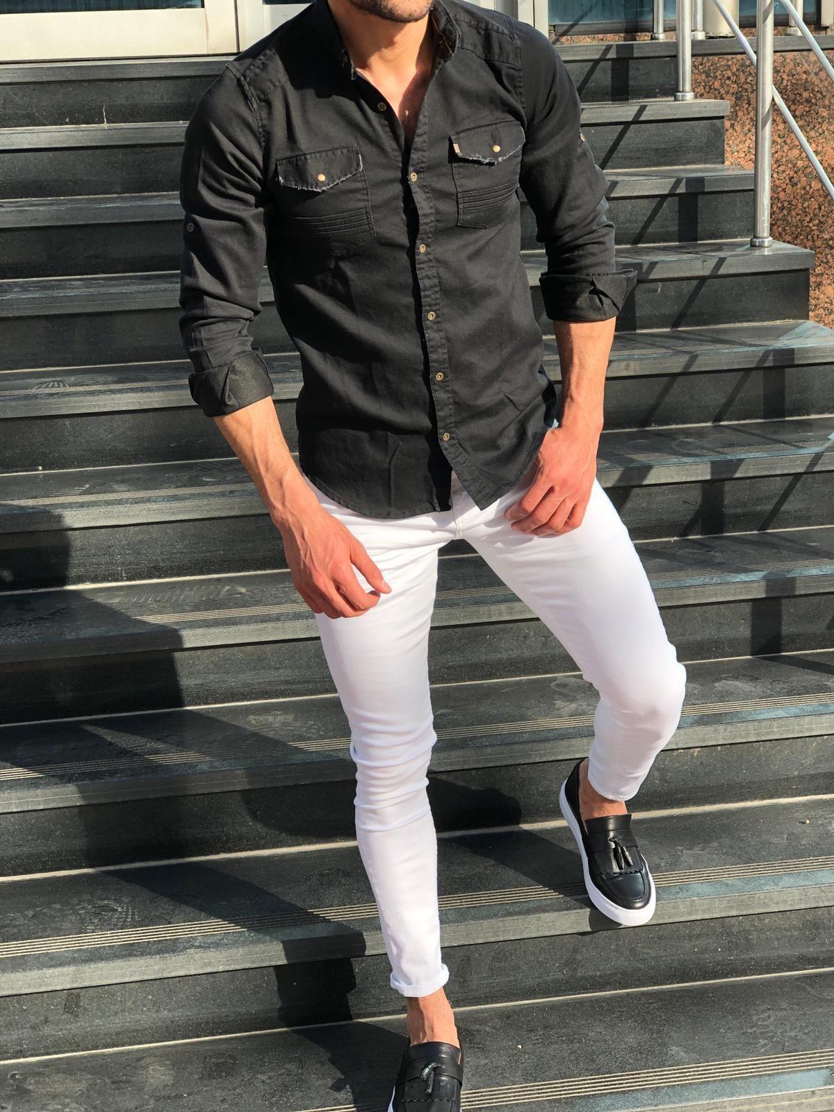 Dansenoff Slim Fit Denim Shirt 4 Colors Bojoni Black Shirt Outfit Men Mens Pants Fashion Shirt Outfit Men [ 1600 x 1200 Pixel ]