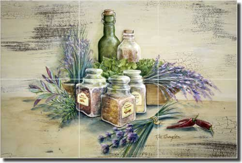 "Kitchen Herbs Ceramic Tile Mural Backsplash 18"" x 12"" - Spice of Life by Rita Broughton - Kitchen Decor Artwork On Tile http://www.amazon.com/dp/B008NA10OY/ref=cm_sw_r_pi_dp_RNuDub1DT77MV"
