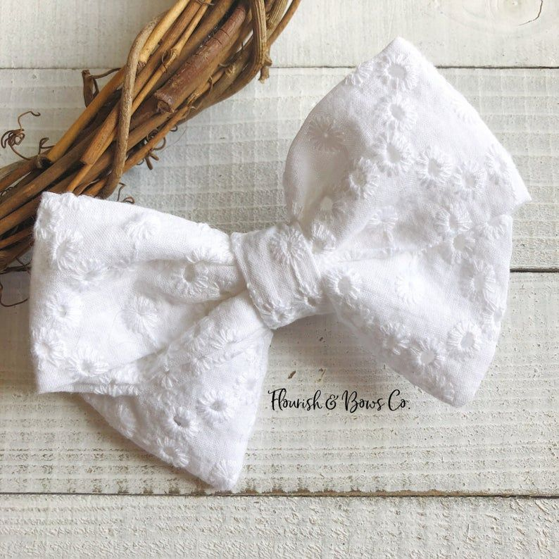 Eyelet Fabric Hair Bow, White Eyelet Hair Clip | Spring Baby Hair Bow | Baptism Hair Clip | Easter T