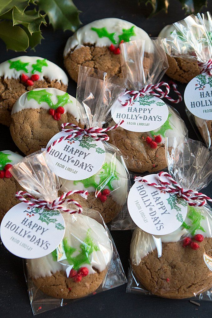 White ChocolateDipped Ginger Cookies with Holly Leaves