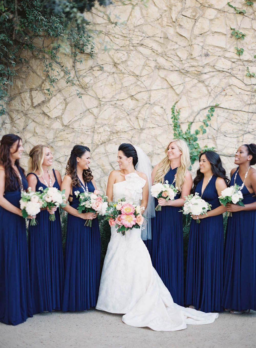 Modern french inspired wedding with pops of color midnight blue modern french inspired wedding with pops of color navy blue bridesmaid dresslong ombrellifo Choice Image
