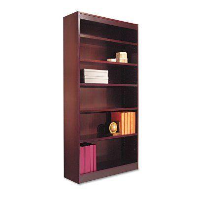 Alera Bcs67236 Square Corner Wood Veneer Bookcase Display Bookcase Alera Shelves