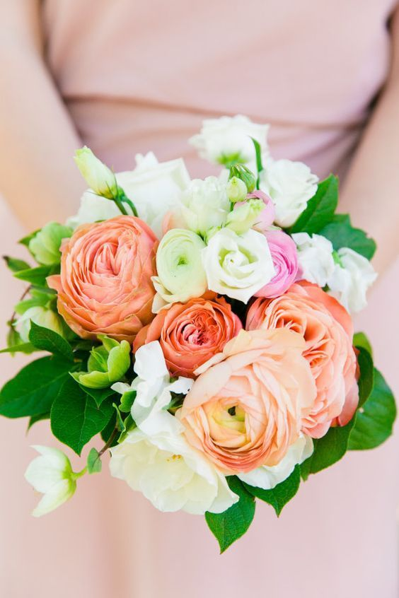 Peach Garden Rose Bouquet wedding bouquet ideas: peach & coral rose garden - http://www