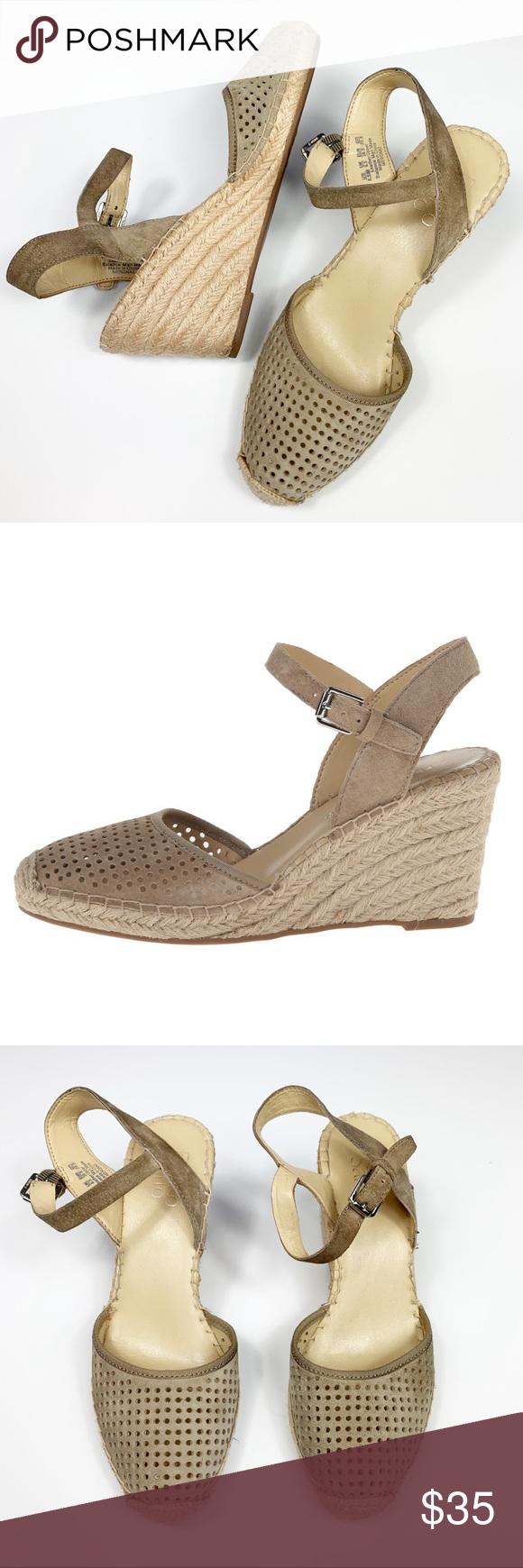 648367ff2a Franco Sarto | Mirage Wedge Sandal Espadrille wedge. Suede upper.  Adjustable ankle strap.