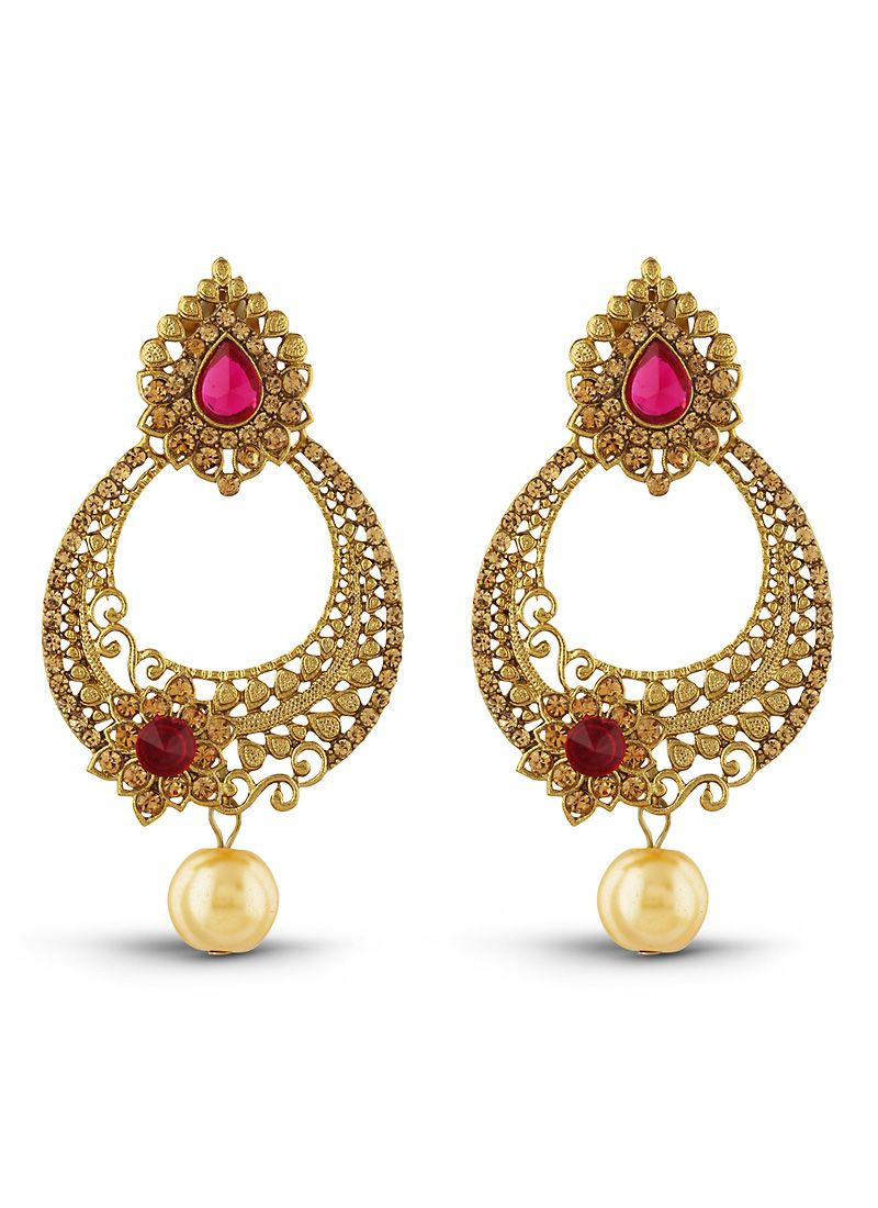 New Look Pink Gold Artificial Jewellery Earrings For