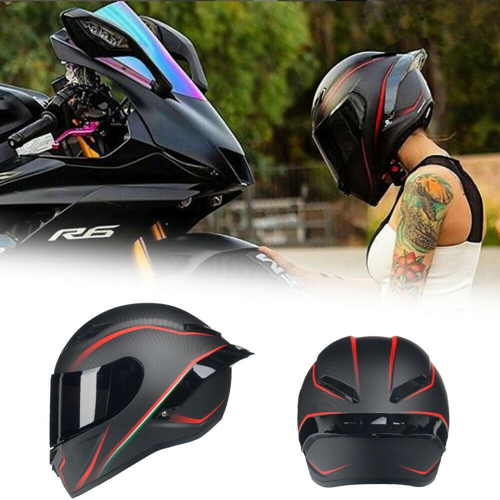 Full Face Moto Motorcycle Kask Capacete Racing Helmet Dot Racer Spoiler Visor Ldmet Mot Carbon Fiber Motorcycle Helmet Full Face Motorcycle Helmets Helmet