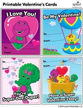 Barney and Friends Printable Valentines Day Cards  Barney