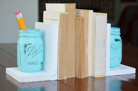 Mason Jar Decor Pair of Bookends Office Accessory Country ...