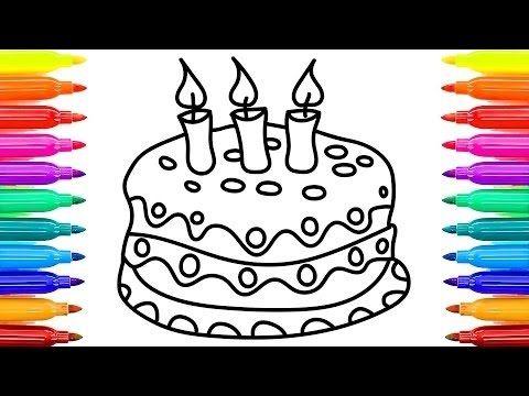 تعلم كيفية رسم وتلوين تورته عيد الميلاد للاطفال كرتون اطفال Simple Birthday Cake Drawings Kids Education