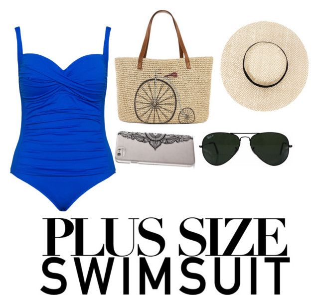 """Plus size swimsuit 2"" by nabookitty ❤ liked on Polyvore featuring La Blanca, Straw Studios, Ray-Ban, Nanette Lepore, stylishcurves and plussizeswimsuit"