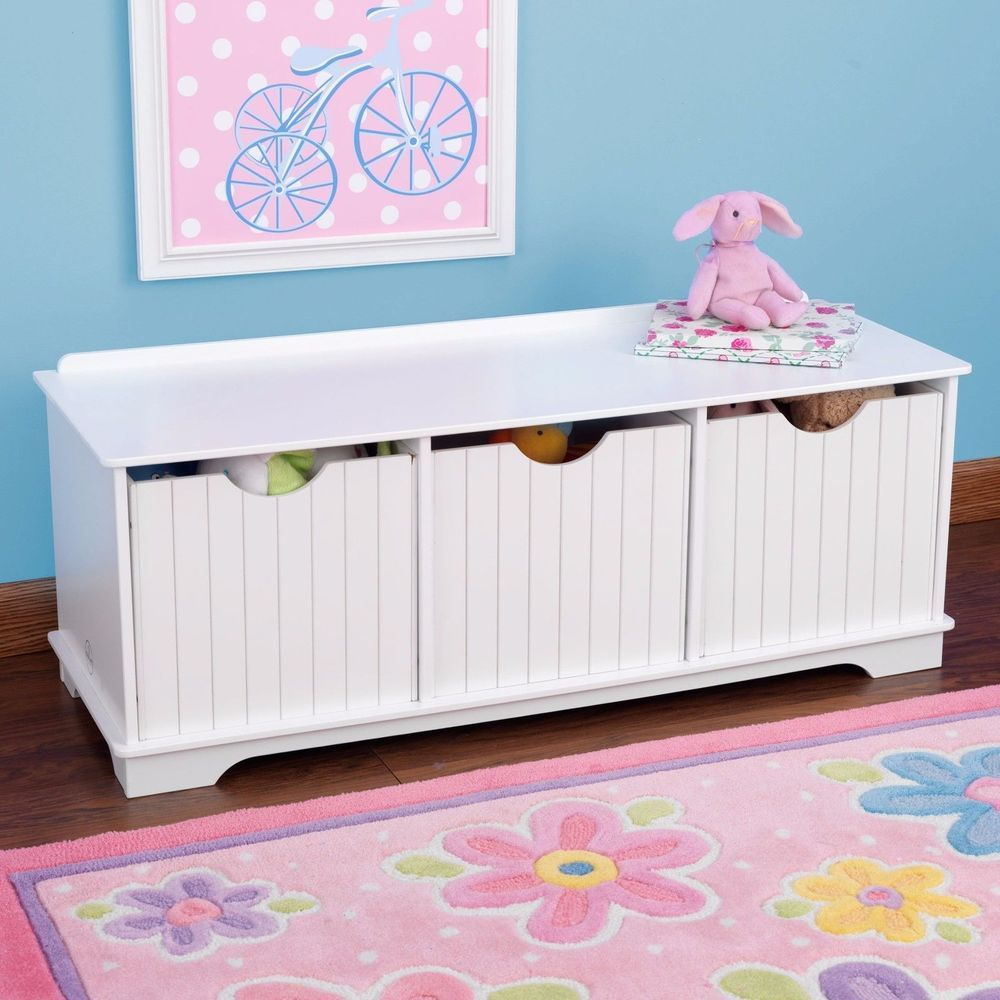 Beautiful White Toy Box Large Wooden Storage Unit Trunk Bench Drawers Childrens  Furniture
