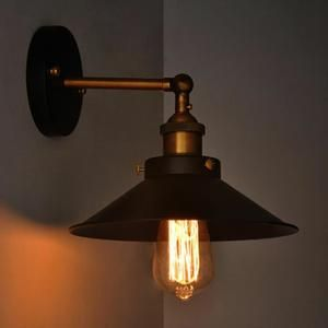 Lampe industrielle Black Metal Umbrella Vintage Loft mur luminaires ...