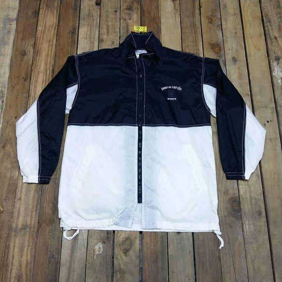 Pierre Cardin Sportswear Track Top Jacket Large Vintage 90 S Black White Windbreaker Pierre Cardin Windrunner Vintage Sportswear White Windbreaker Jacket Tops