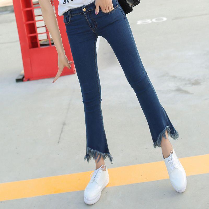 Spring Slim Mid Waist Flare Jeans Plus Size Stretch Skinny Denim ...