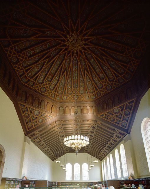 Powell Library Main Reading Room: ceiling with Printers Marks; Atkinson Photographic Archive || Los Angeles
