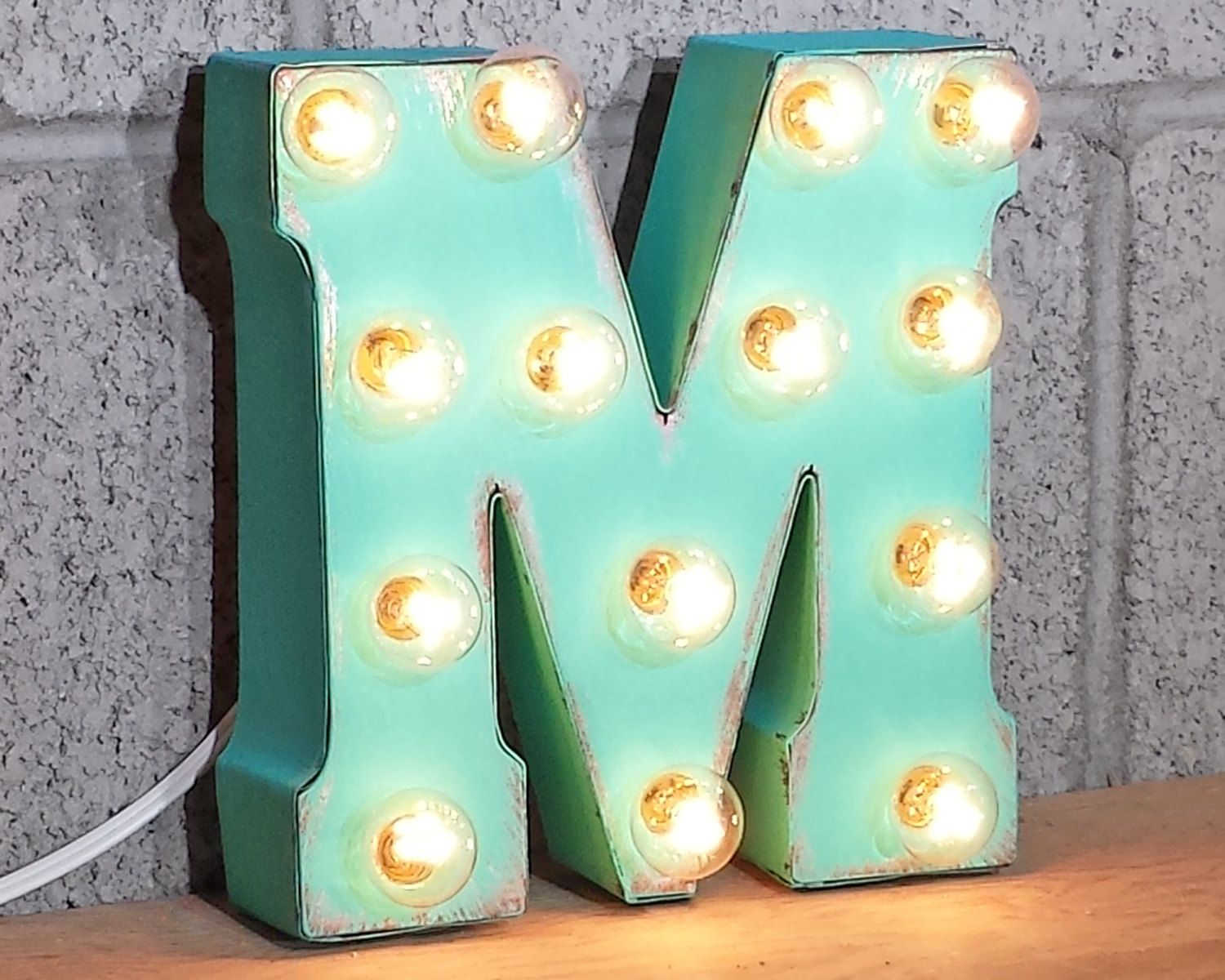 Letter M Rustic Metal Marquee Sign Light White Red Blue