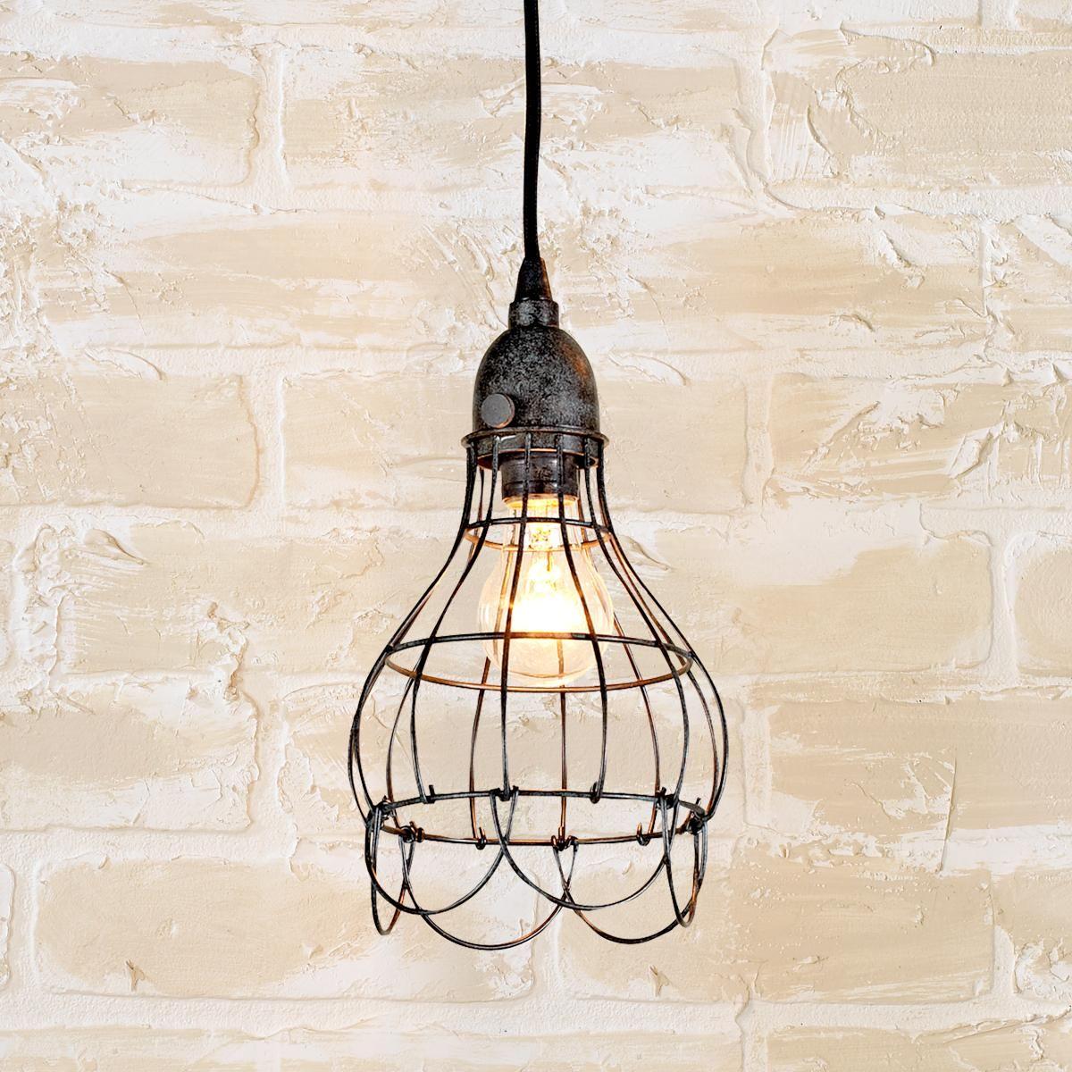 Industrial Cage Work Light Pendant Hanging Lamp Shade Antique Lamp Shades Farmhouse Pendant Lighting