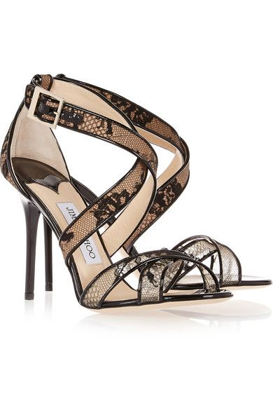 Heel measures approximately 105mm/ 4 inches Black lace-covered mesh and patent-leather Buckle-fastening ankle strap