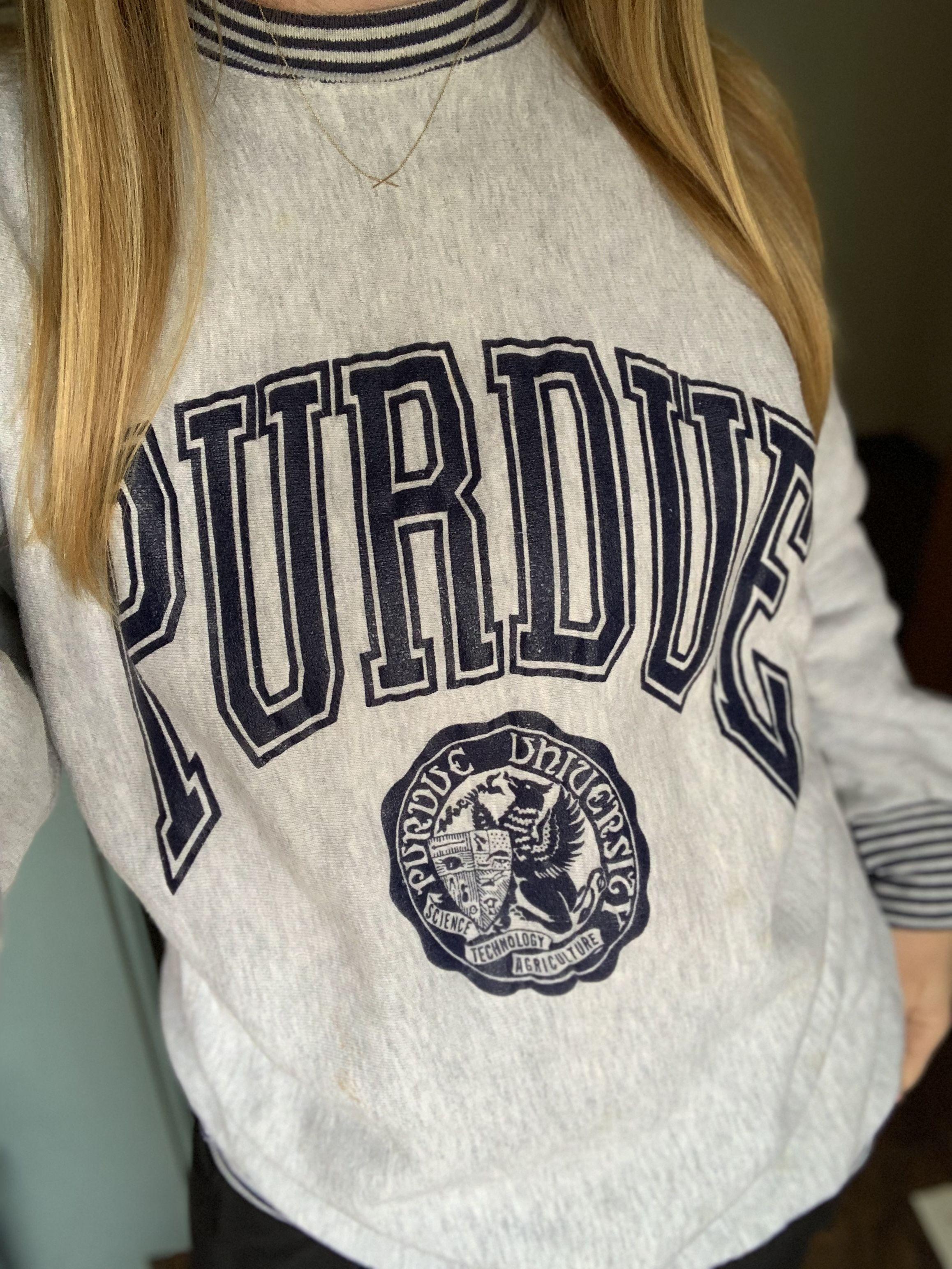 Vintage 80s Purdue University Sweatshirt Vintage Clothing Men Vintage Outfits Sweatshirts [ 3088 x 2316 Pixel ]