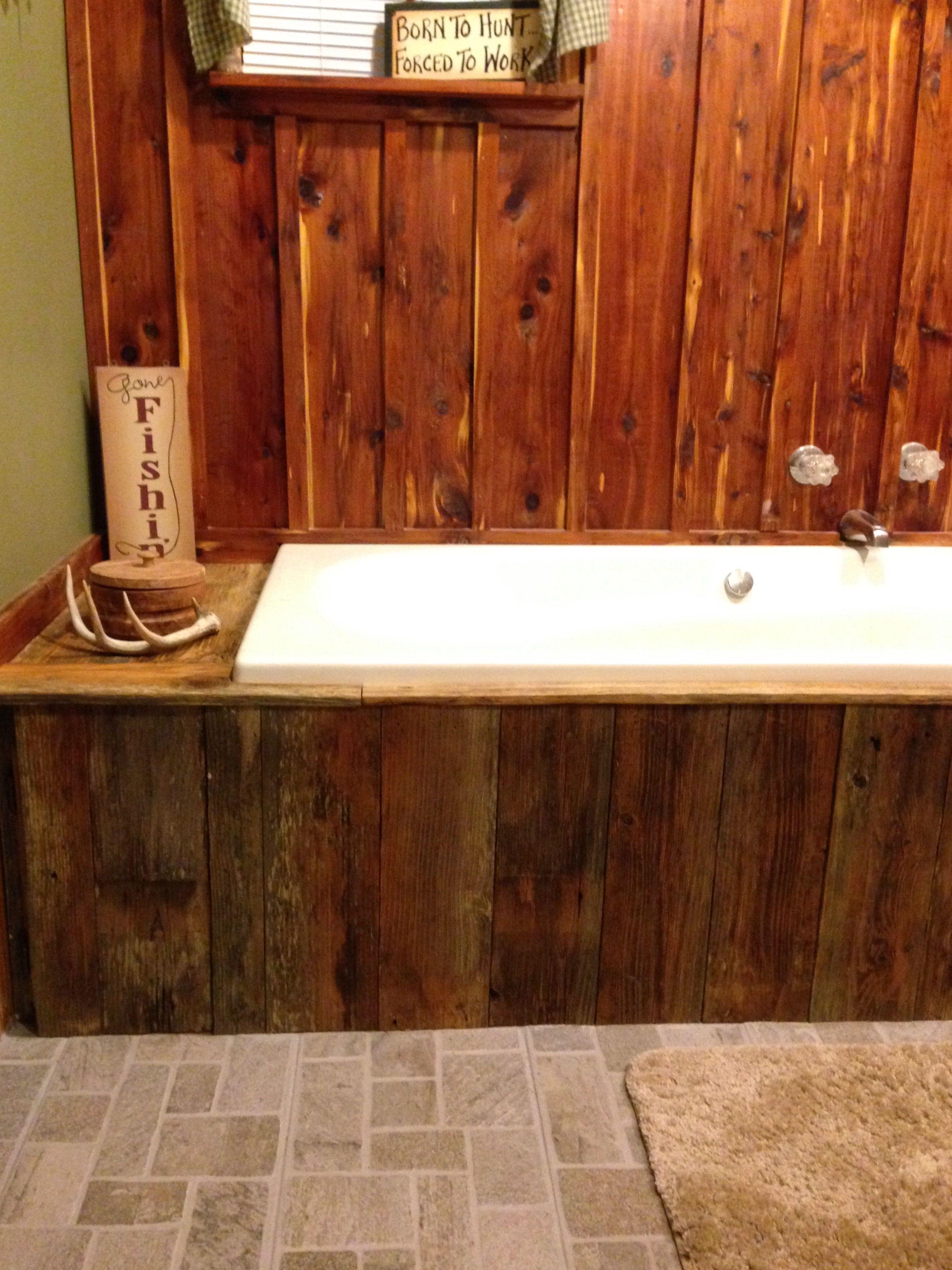 Home Decor Tile Rustic Bathroomcedar Focal Wall Barn Wood Facing Around Tub