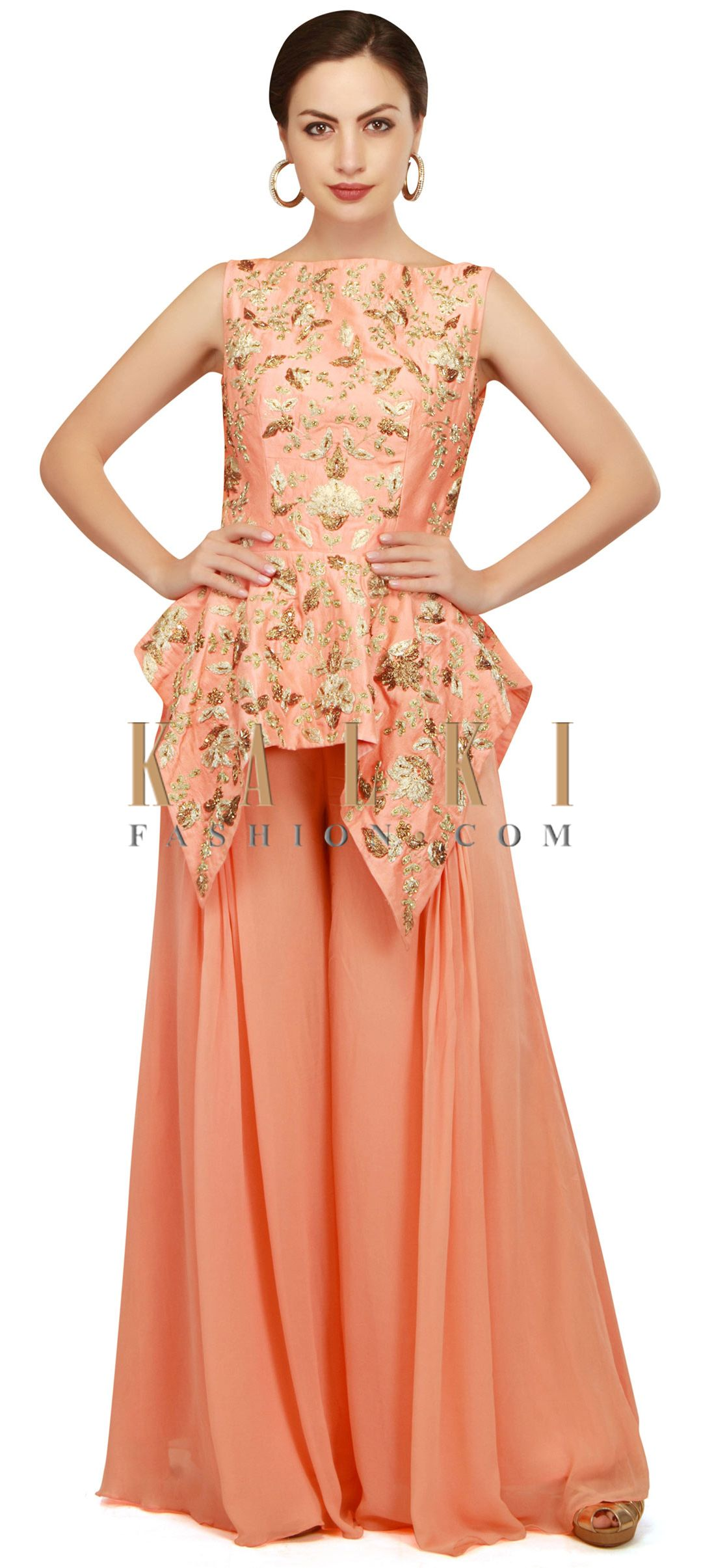 fb0ee9b486 Peach peplum top with pleated palazzo pant only on Kalki | Shades ...