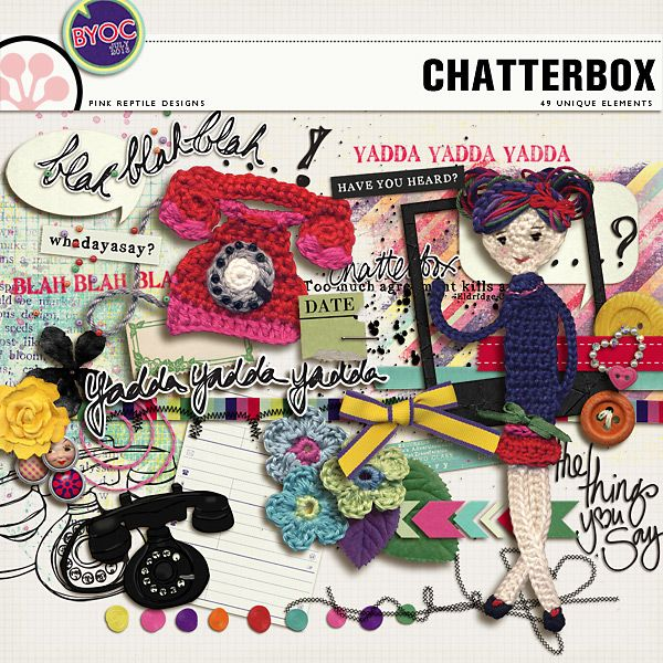 Chatterbox - The Elements *** This fun and mega versatile pack of elements is all about people that like to talk and the typical things they say. It contains 49 unique pieces [56 pieces in total] and coordinates with all other July BYOC products!