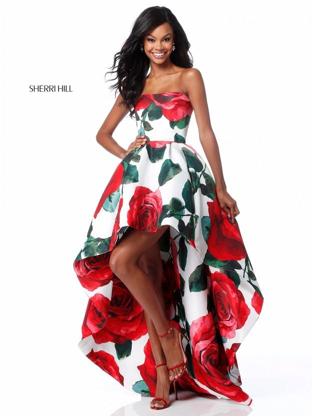 217e238dc0e This Sherri Hill 51816 rose print strapless formal dress features a  straight across neckline