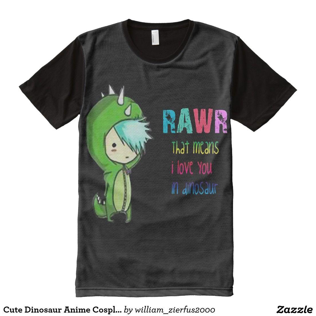 Cute dinosaur anime cosplay love alloverprint tshirt