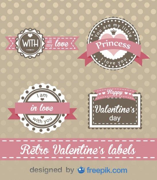Retro ValentineS Day Labels Design FreepikRomanticPin