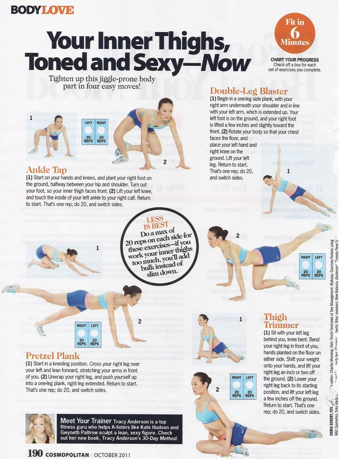 Inner Thighs; Tracy Anderson Method in Cosmopolitan; Fit in 6 minutes column