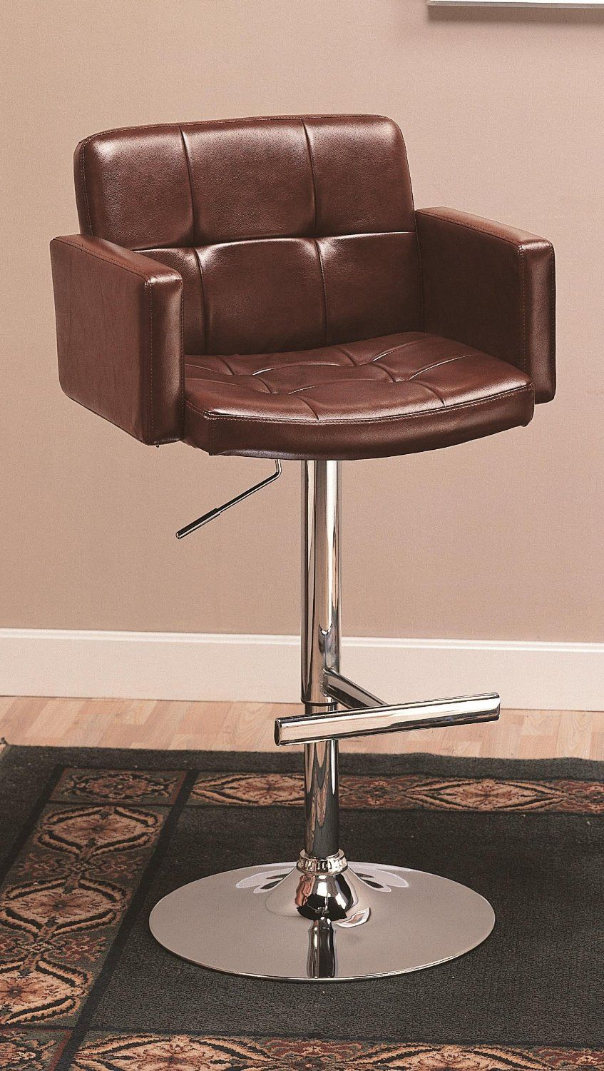 Amazon Com Coaster Adjustable Bar Stool With Arms In Black Faux