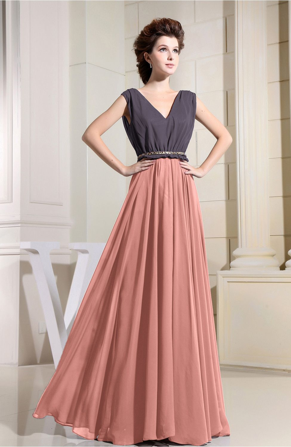 Peach Evening Dress - Antique A-line V-neck Chiffon Floor Length ...