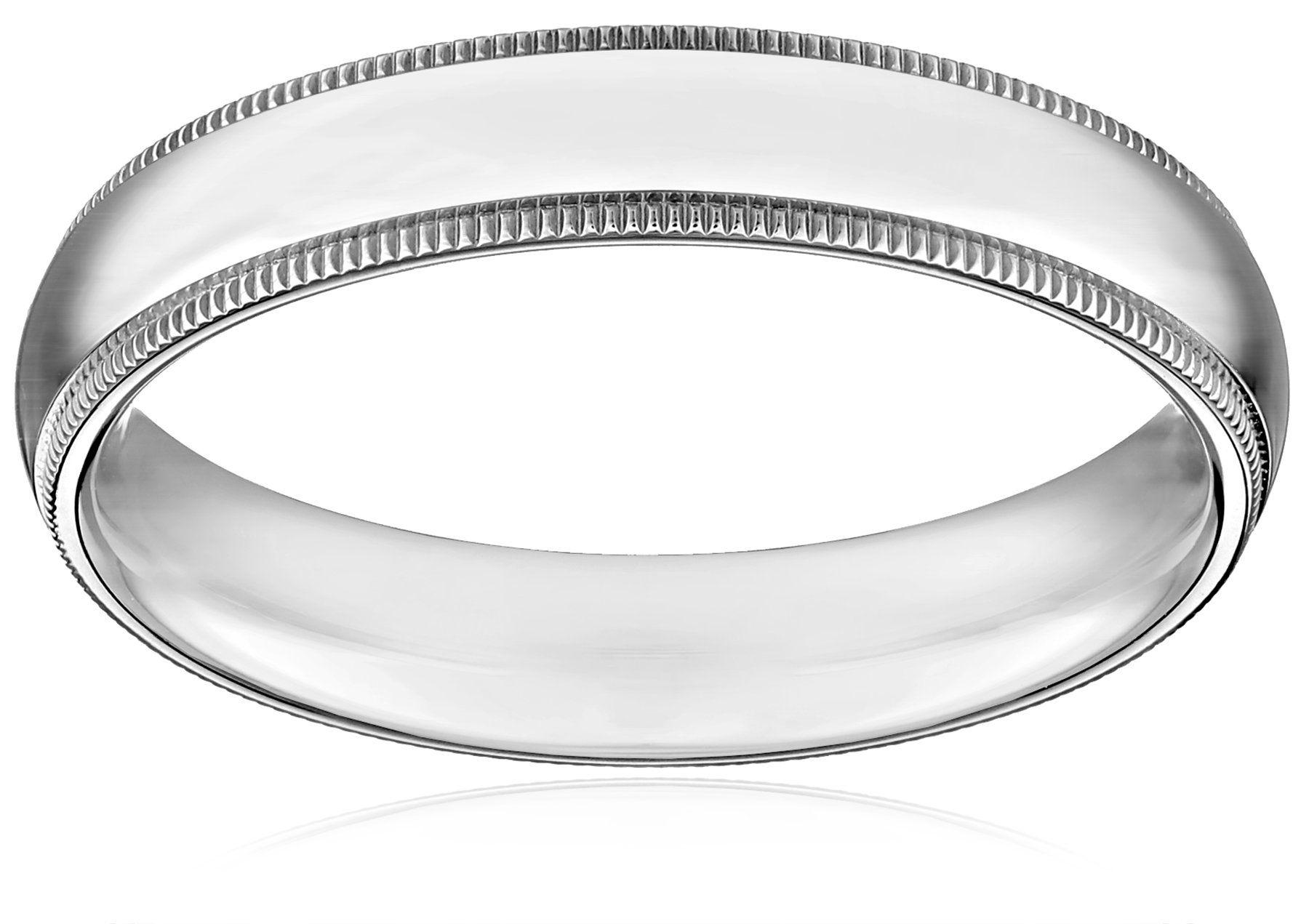 Standard Comfort-Fit 14K White Gold Milgrain Band, 4mm, Size 8.5. Domestic.