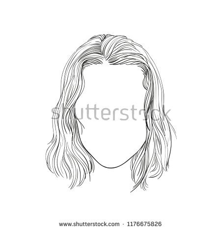 vector sketch of woman s head with no face hand drawn illustration