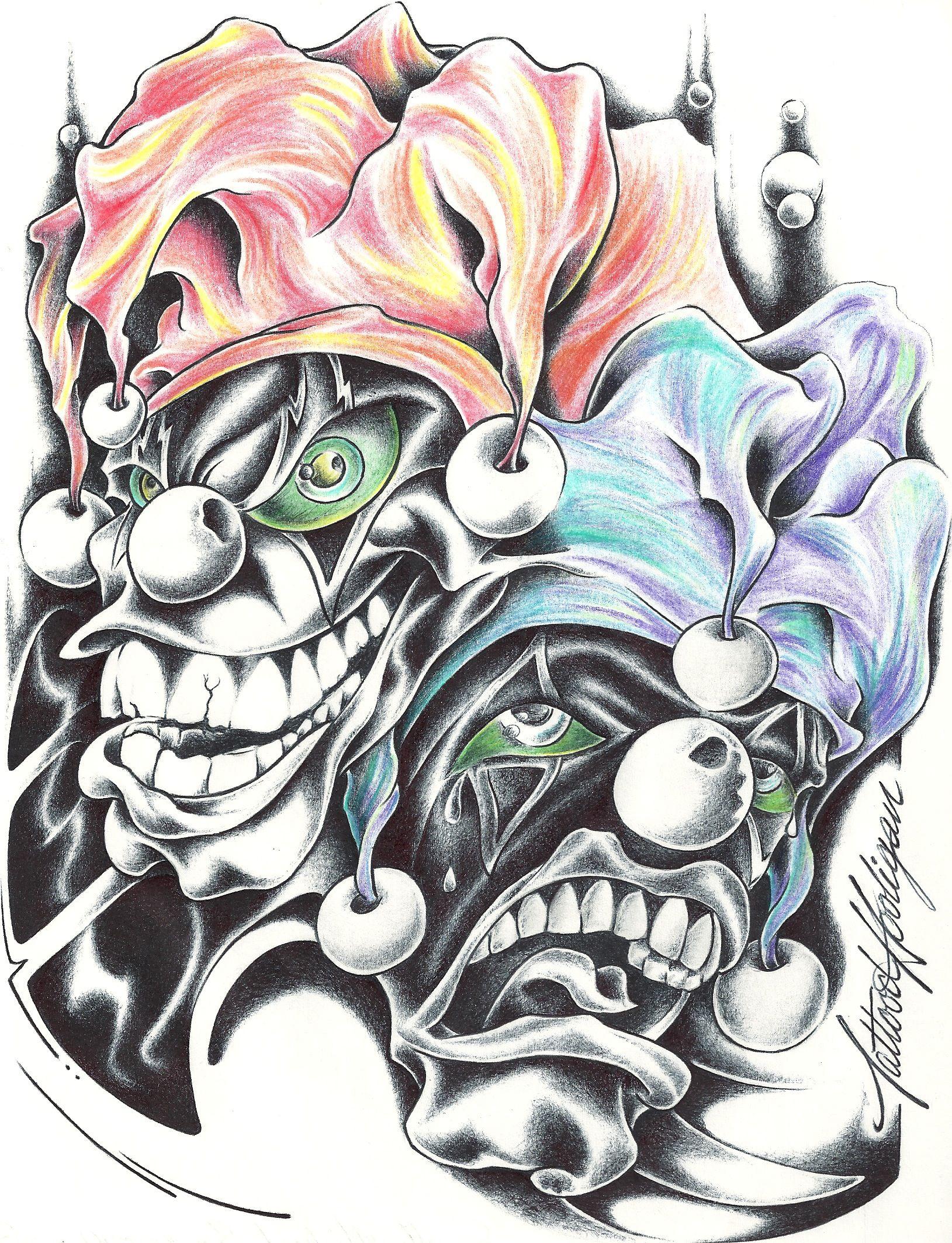 Desenho Palhaço Tatuagem maquiagem na cara esconde o rosto do infrator é os palhaços