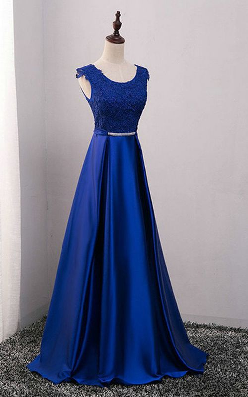 A Line Royal Blue Sleeveless Satin Lace Sashes Floor Length O Neckline Long Prom Dress