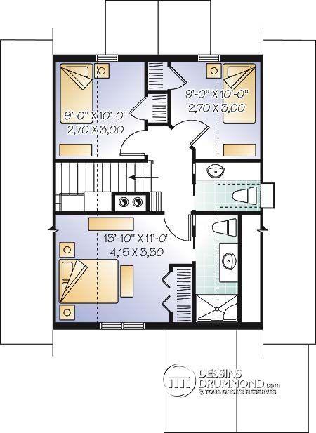 Détail du plan de Maison unifamiliale W3929-V1 Plans maison - plan de maison design