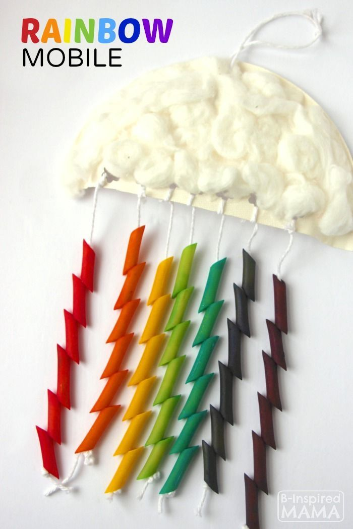 Rainbow Mobile Craft For Kids Cotton Ball Cloud And Colored Pasta