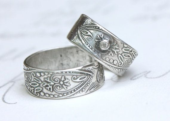 But I Would Wear It As A Regular Ring Bohemian Wedding Band Ring Set With White By Peacesofindigo Boho Wedding Ring Wedding Rings Vintage Wedding Ring Bands