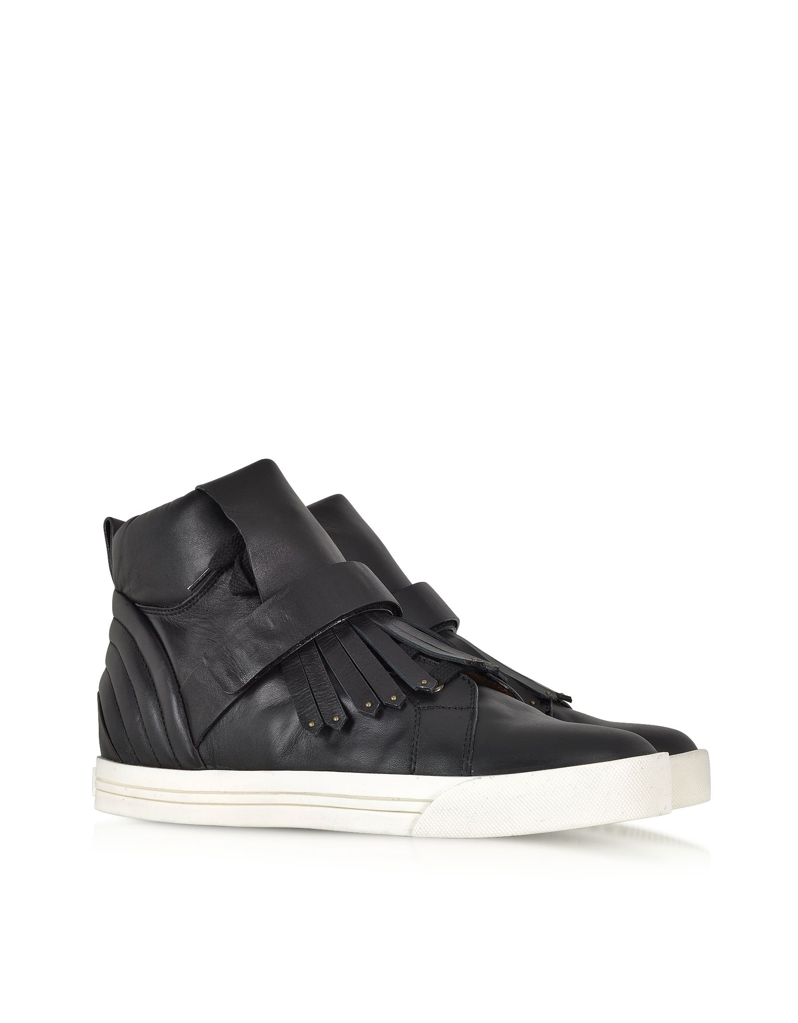 Marc jacobs black high top fringed leather sneaker actual