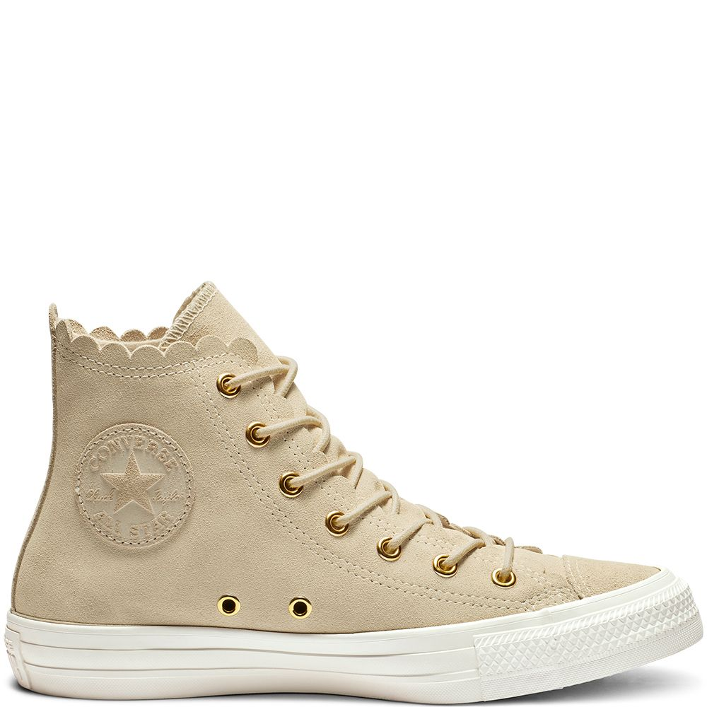 b59b9f812b34 Chuck Taylor All Star Frilly Thrills High Top Natural Ivory Gold Egret  natural ivory gold egret