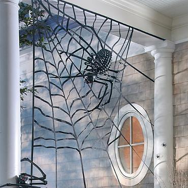 Corner Spider Web Halloween Porch Halloween Decorations Halloween Outdoor Decorations