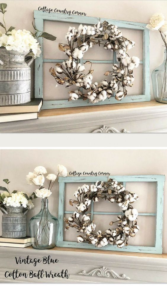 I Want Rustic Farmhouse Window Wreath Frame Homedecor