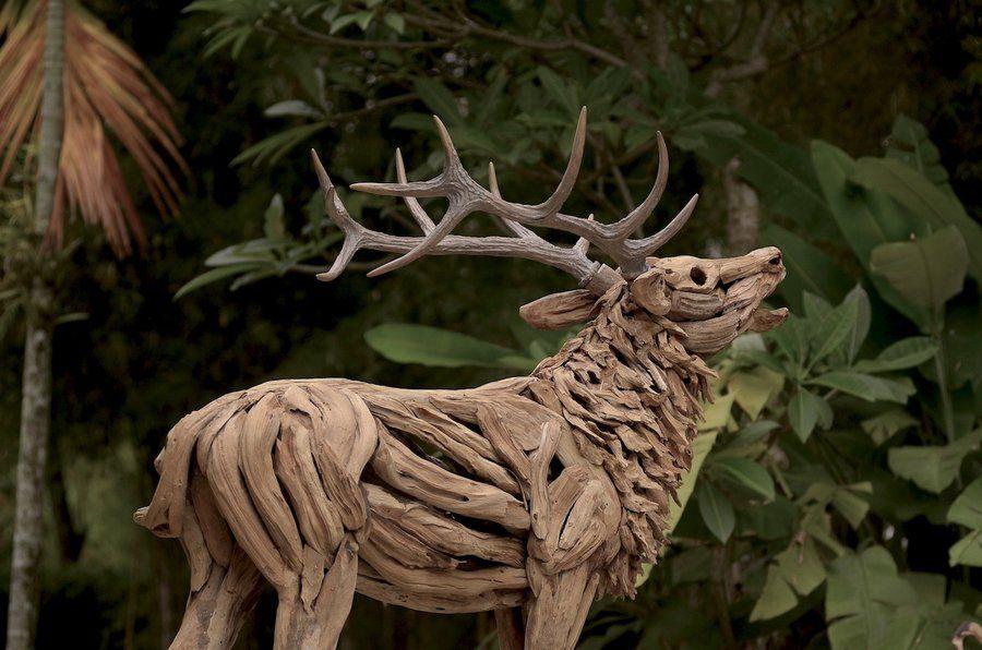 Driftwood Stag Sculpture Driftwood Art Sculpture Sculpture Driftwood Sculpture