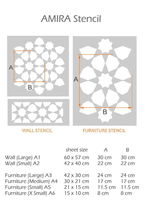 Amira Stencil Moroccan Mosaic Wall Furniture Floor Craft Wall