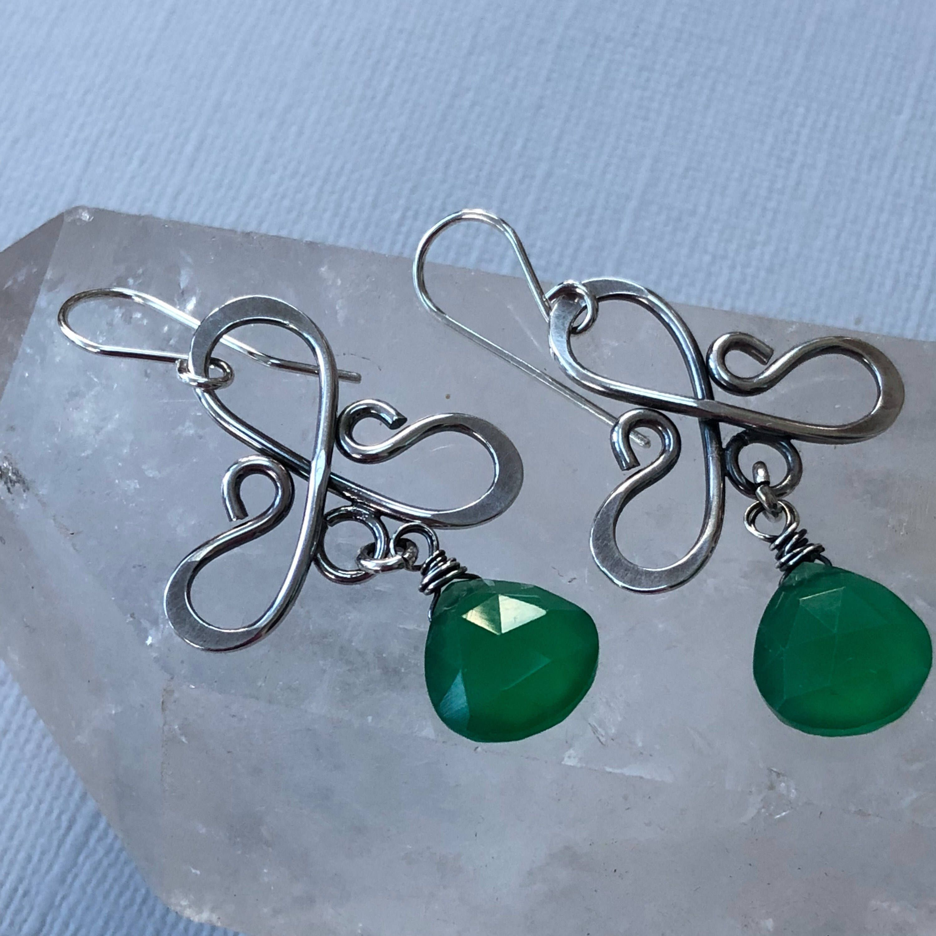 Silver Wire Earrings with Peridot Quartz /Peridot Quartz Earrings ...