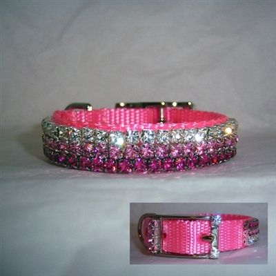 """This 5/8 inch pink blling Swarovski Crystal pet collar comes in an array of pink hues: Rose, Light Rose and Clear. Available in 5/8"""" for medium/large cats and small to large dogs."""