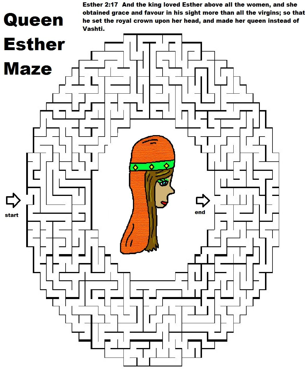 Printable coloring pages of queen esther - Printable Queen Esther Maze Just Print This Fun Maze Out For The Kids Do