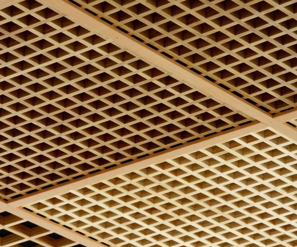 Acoustic Suspended Ceiling Wood Panel Curved Ideatec